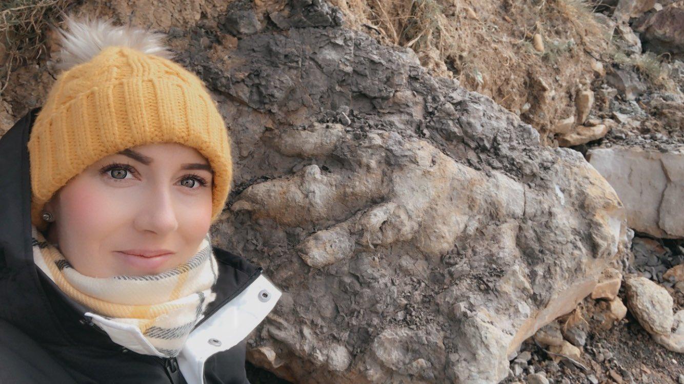 Девушка собирала моллюсков и наткнулась на гигантский след динозавра