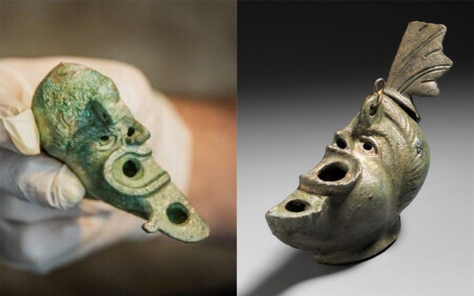 Две части одного античного светильника нашли в разных странах мира
