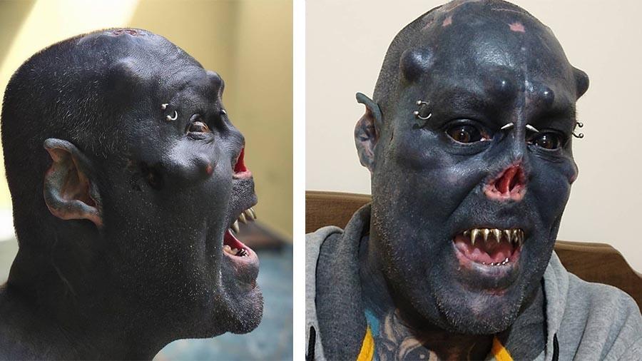 Татуировщик из Бразилии превратил себя в «орка»