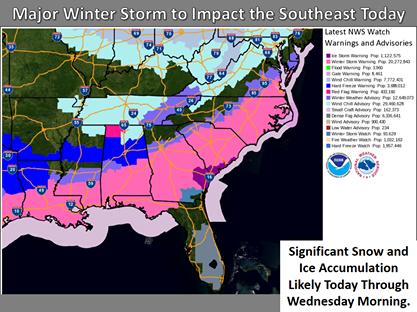 Зимний шторм ударил по южным штатам США, а на Аляске прогрелось до +16,7°C