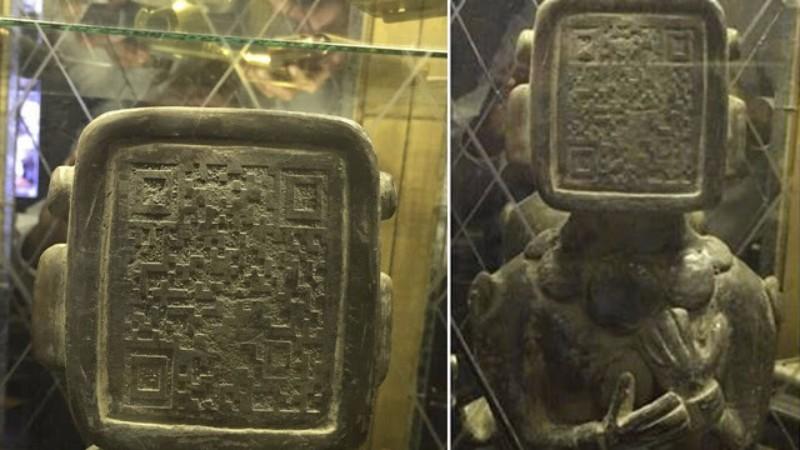 На лице древней статуи майя обнаружен Qr-код