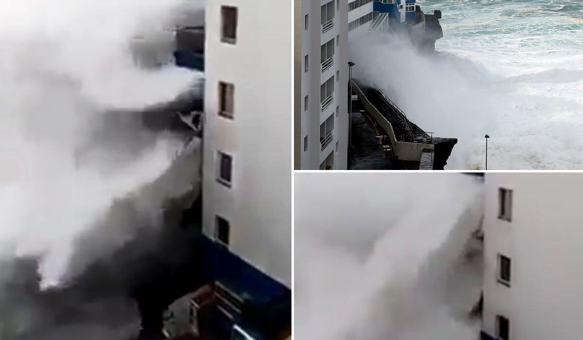 Ужасный шторм на Канарах: гигантские волны разрушают балконы многоэтажек