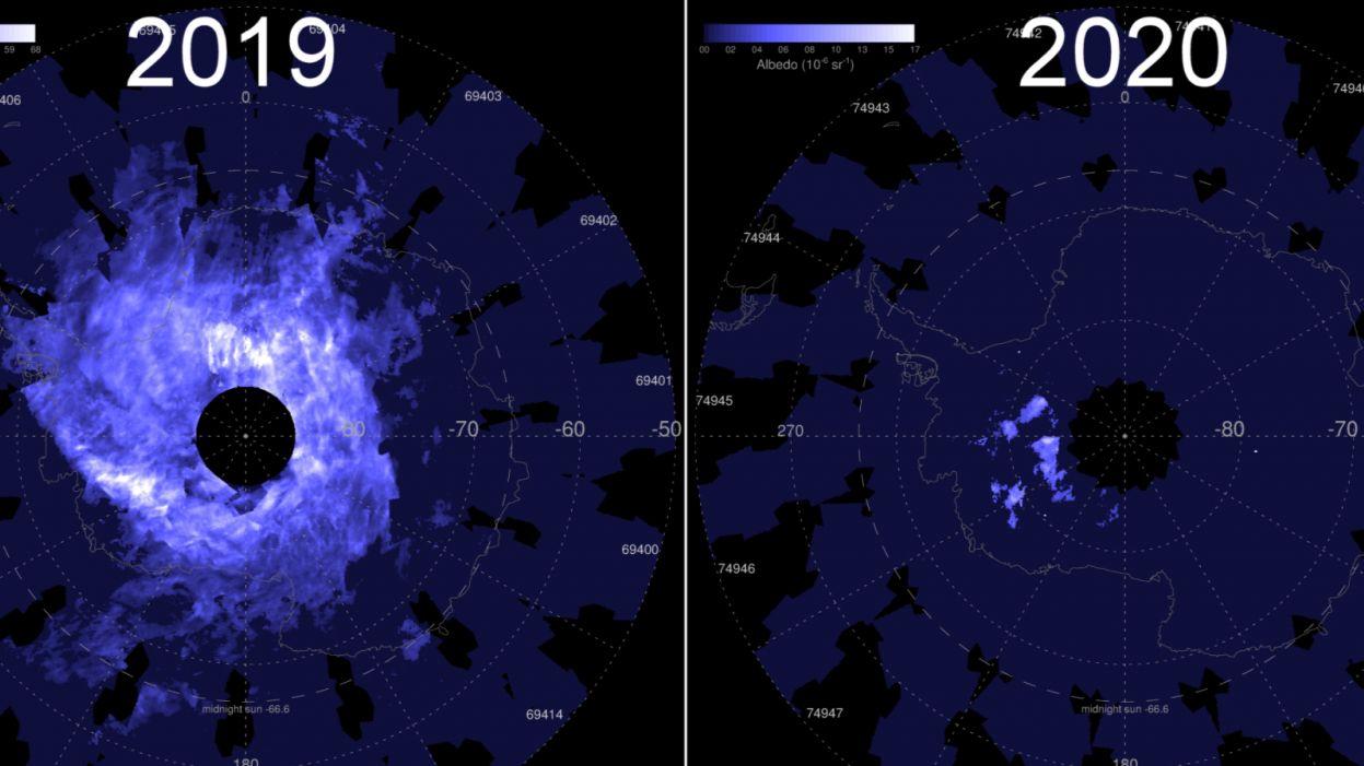 Над Антарктидой в декабре почему-то не появились серебристые облака