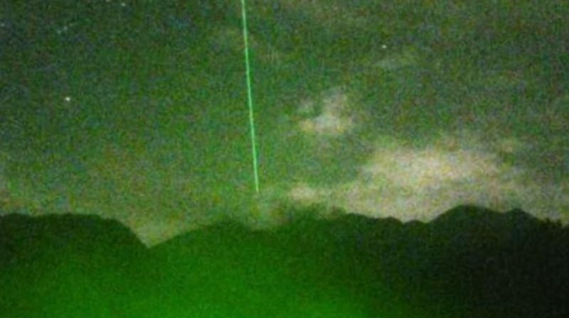 Над вулканом Сакурадзима возник странный энергетический луч