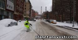 Сноубординг в заснеженном Нью-Йорке.(Видео)