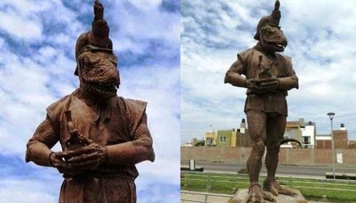 В Перу установили статую инопланетянина-рептилоида