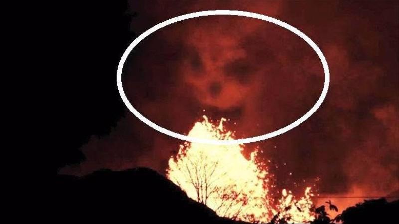 Лицо демона появилось над пылающими Гавайями